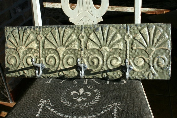 Genuine Antique Ceiling Tin Key hanger - Hat Rack -- Sage Green with Beautiful Highlights