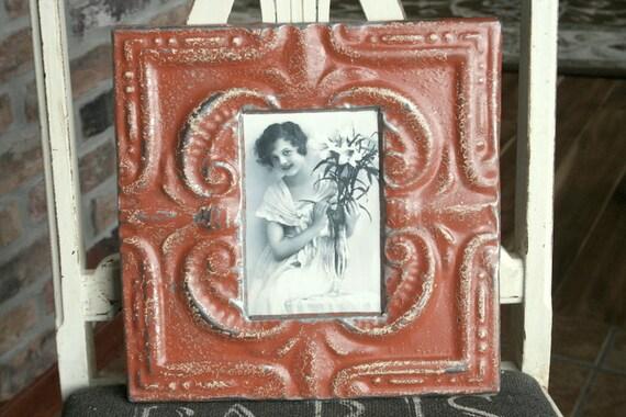 Genuine Antique Ceiling Tin Picture Frame --  4 x 6 -- Rustic Orange Colored Paint