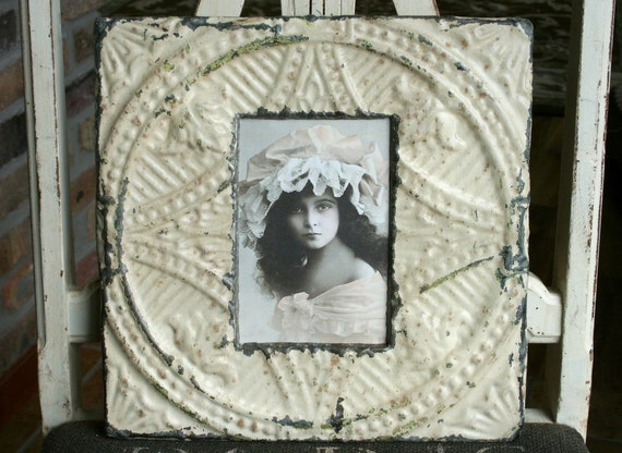 Genuine Antique Ceiling Tin Picture Frame --  4 x 6 -- Cream Colored paint