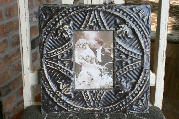 Genuine Antique Ceiling Tin Picture Frame --  4 x 6 --- Walnut Brown colored Paint