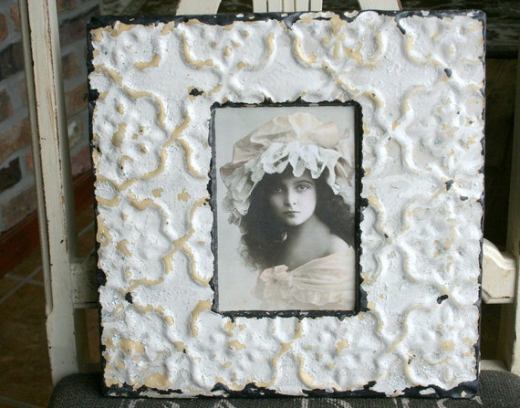 Genuine Antique Ceiling Tin Picture Frame -- 4 x 6 -- Antique White Paint with Mustard Highlights