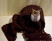 Owl Brown Scarf
