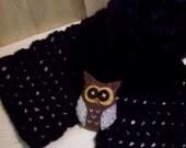 Owl Black Scarf