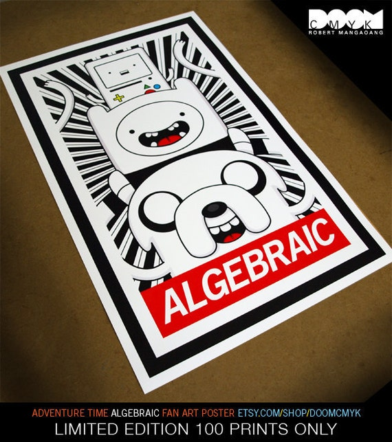 """Limited Edition Adventure Time """"ALGEBRAIC"""" Fan Art Poster 100 Prints Only"""