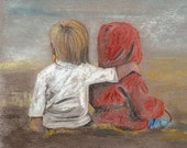 Friendship/ Original pastel drawing
