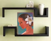 The girl with flower in her hair/original drawing, profile, portrait, artwork, blue, white, orange, red, brown hair, home decor, naked