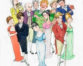 Jane Austen, 'Mansfield Park' cast of characters SMALL illustration print