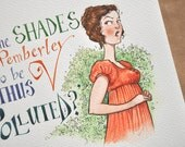 """Jane Austen, 'Pride & Prejudice' ORIGINAL literary illustration: """"Are the shades of Pemberley to be thus polluted"""""""