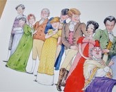 Jane Austen, 'Emma' illustration print: 'The Cast of Emma'