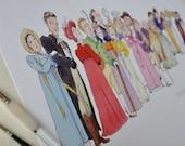 Jane Austen, 'Persuasion' literary illustration print: 'The Cast of Persuasion'