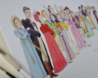 Jane Austen, 'Persuasion' literary illustration print: 'The Cast of Persuasion'