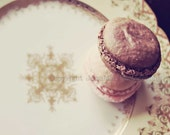 Pastel Macarons Photography - Just A Taste -  French Macarons Photography Print (10x8) - Pink Brown Shabby Chic Tea Party Dessert Photo Art
