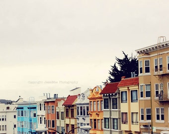 San Francisco Photography, Colorful Houses, San Francisco Photography Print, Orange, Turquoise, San Francisco House, San Francisco Print