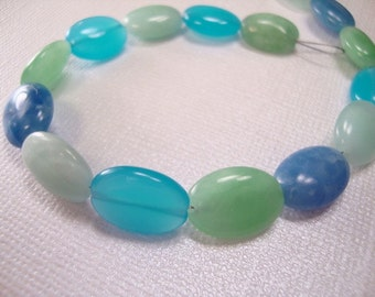 Rainbow Blue Quartz Oval Beads