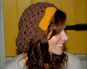 Crocheted Slouchy Hippy Hat with Bow - The Samantha