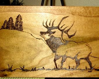 Original Elk with Pines Wood Burning Plaque