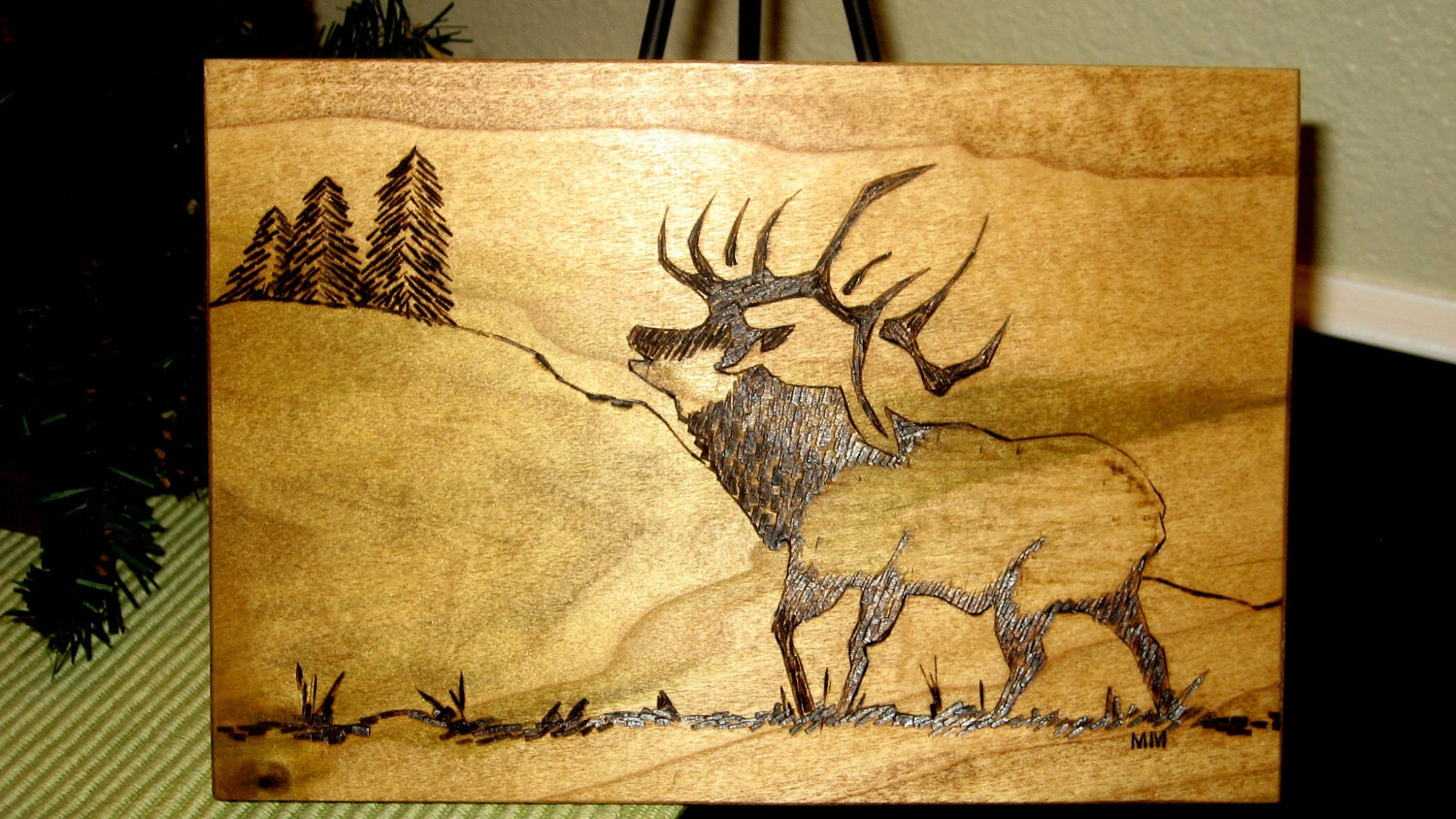 Original Elk With Pines Wood Burning Plaque By