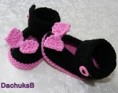 Hand knitted  baby  Mary Janes for 0-6month 10cm/4.0inches