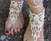Hand crocheted sexy barefoot lace sandals in beige color made from pure cotton yarn