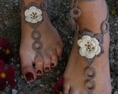 Barefoot sandals BEIGE ROSES handmade beautiful barefoot sandals in beige-brown color with pearl beads /2/
