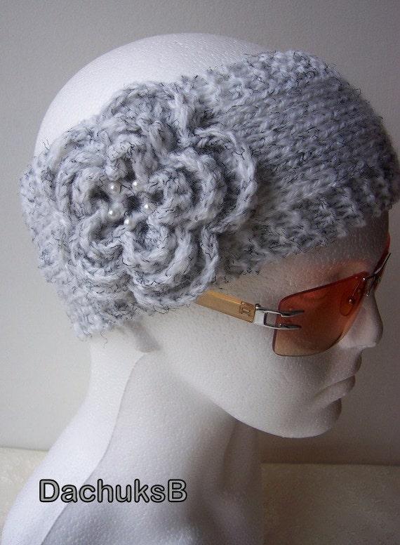 Hand knitted headband ear warmer with crochet flower by DachuksB