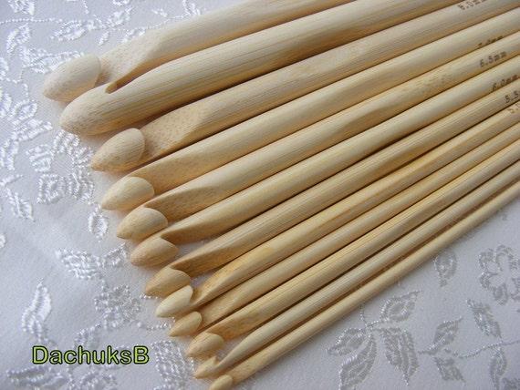 12 Sizes Crochet Hooks Bamboo Knitting Needles 3-10mm