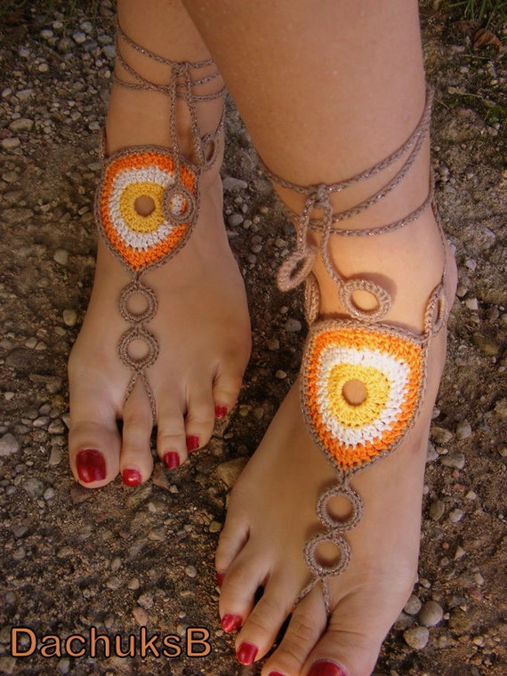 COLORFUL CIRCLES hand crocheted sexy barefoot sandals made from cotton-viscose blend yarn