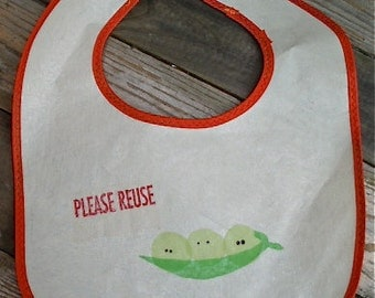Peas in a Pod Baby Bib Recycled / Upcycled / resistant / fused plastic
