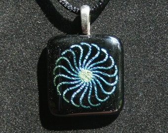 Fused Stained Glass Pinwheel Dichroic Pendant