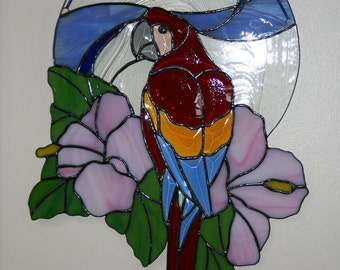Beveled Stained Glass Parrot