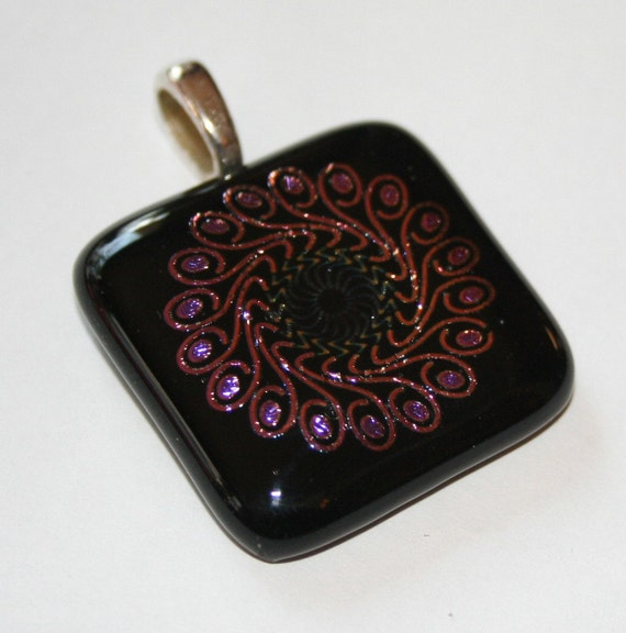 Stained Glass Dichroic Fused Glass Pendant