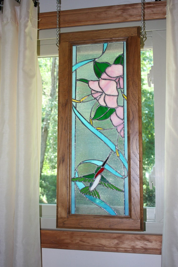 Framed Stained Glass Hummingbird Panel
