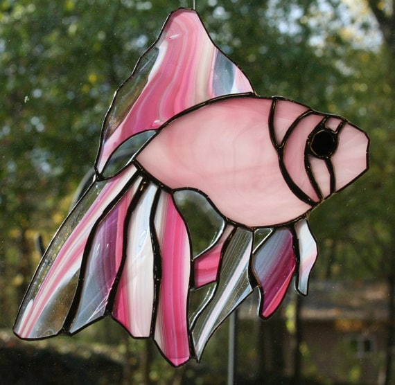 Stained Glass Pink Fish Suncatcher