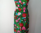 SALE--In Full Bloom- Joseph Magnin Floral Floor-Length Dress with Open Back and A Charming Bow Sz. M