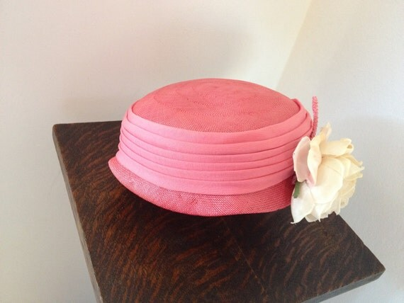 1950's Pink Saks Fifth Avenue Pill Box Hat with Cream Rose