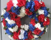 Patriotic Decoration, Patriotic Wreath, Americana Door Wreath, Red White Blue Patriotic Decor