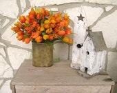 Tulip Wreath, Orange Wreath, Outdoor Wreath, Floral Door Pocket, Door Wreath Alternative
