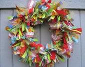 Fabric Wreath, Ribbon Wreath, Rag Wreath, Green Blue Red Front Door Wreath, Fruit Salad Fabric and Ribbon Wreath