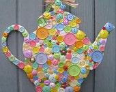 Button Teapot Wall Art, Teapot Plaque Front Door Wreath, Teapot Wall Decor, Button Wall Art, Tea Party Wreath