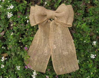 Burlap Bow, Burlap Wedding Decorations, Aisle Decoration, Burlap Wedding Bow, Ceremony Pew Bow, Rustic Wedding Decor, Church Chair Back Bow