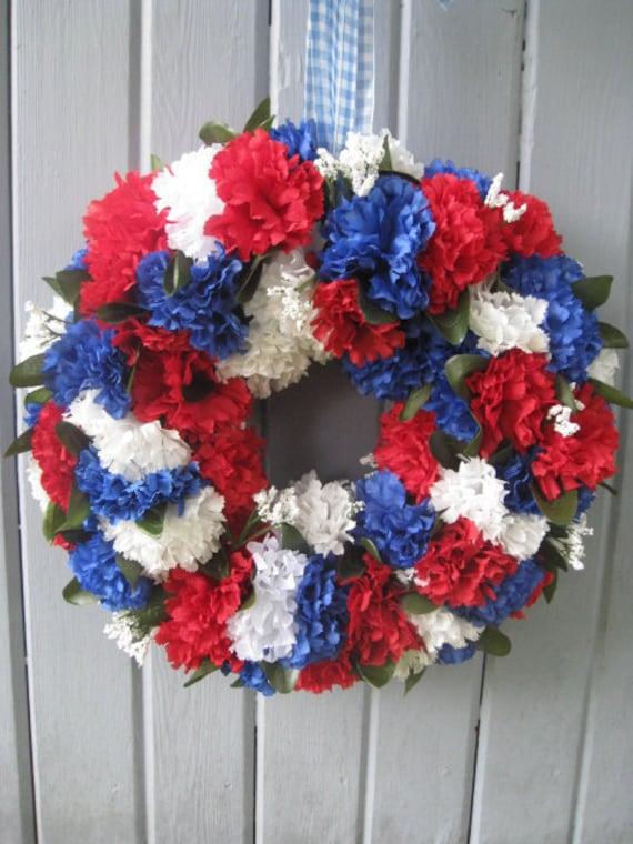 Patriotic Decoration, Patriotic Wreath, Americana Door Wreath, Red White Blue Patriotic Decor