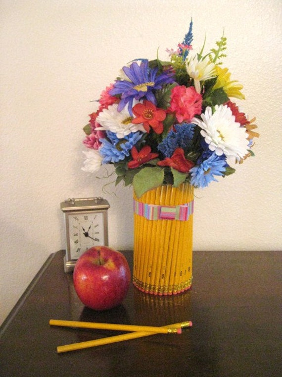 Back To School Teacher Gift Pencil Vase With Floral Bouquet