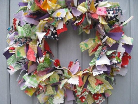 Summer Fun Fabric Rag Wreath