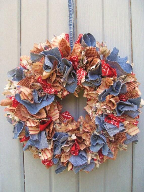 Fabric Wreath Rag Wreath Farm House Bandana Denim Door