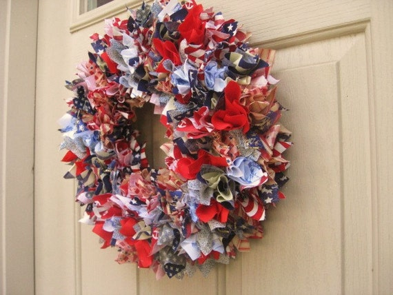 Patriotic Wreath, Ribbon Wreath, Fabric Wreath, Red White and Blue Wreath, Stars and Stripes Rag Wreath, Patriotic Decoration