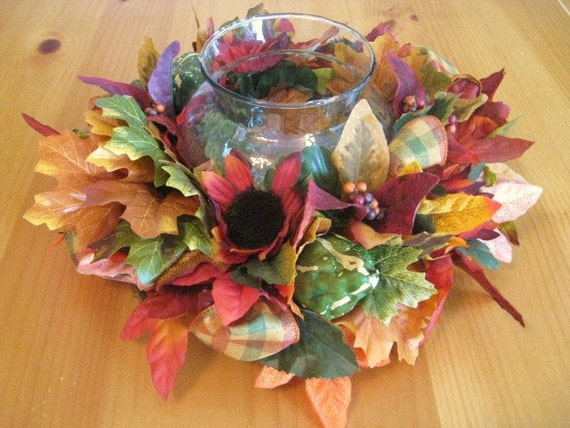 Floral Candle Ring, Fall Centerpiece, Autumn Leaves and Floral Table Arrangement, Thanksgiving Centerpiece