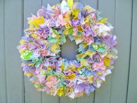 Spring Wreath Fabric Wreath Rag Wreath Ribbon Wreath