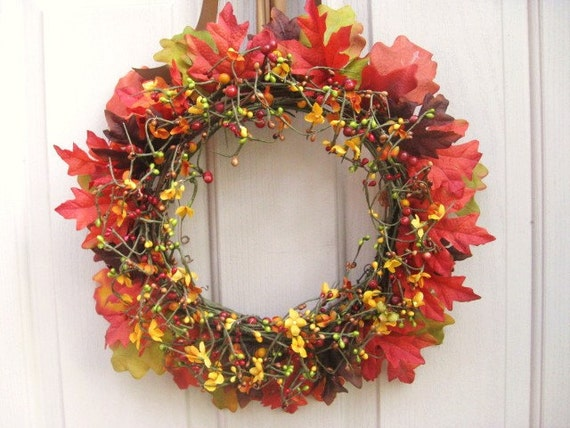 Fall Wreath, Berry Wreath, Leaves and Berries Wreath for Fall Front Door, Autumn Wreath