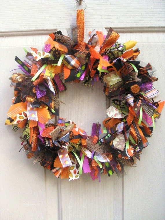 Halloween Wreath Fabric Wreath And Ribbon Wreath For The