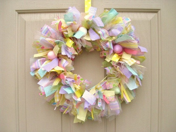 Easter Wreath, Easter Egg Wreath, Easter Decoration, Spring Wreath, Ribbon Wreath, Fabric Wreath